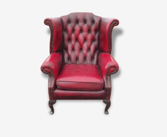 Fauteuil Chesterfield Cuir Rouge Cuir Vintage - Fauteuil chesterfield cuir