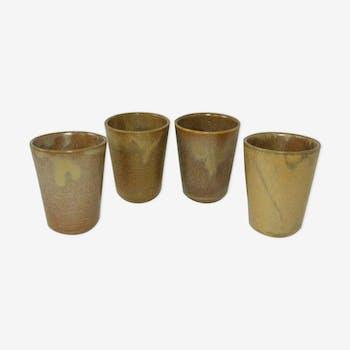 Lot 4 Digoin vintage glazed stoneware cups 70/80