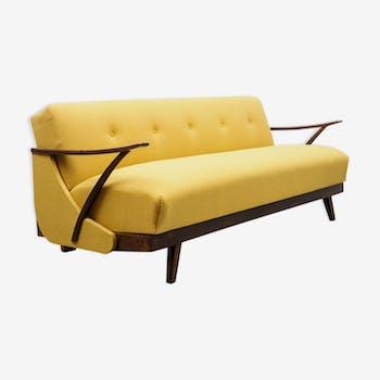 Canapé convertible années 50, refait à neuf, jaune