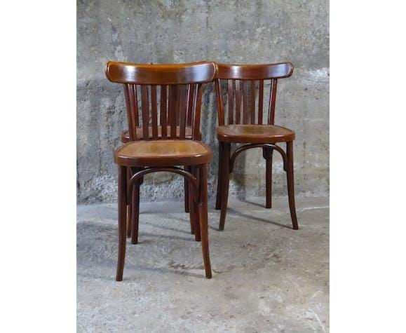 Lot de 3 chaises bistrot Mahieu 1930