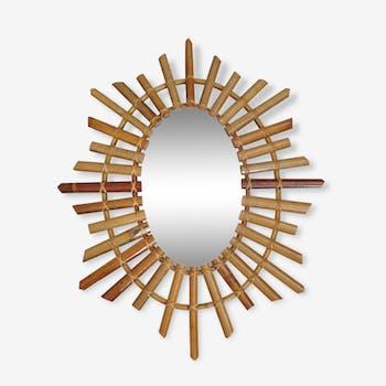 Miroir soleil en bambou