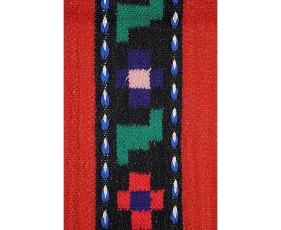 Tapis floral rouge de laine avec de belles fleurs faites à la main en Roumanie 207x80cm!