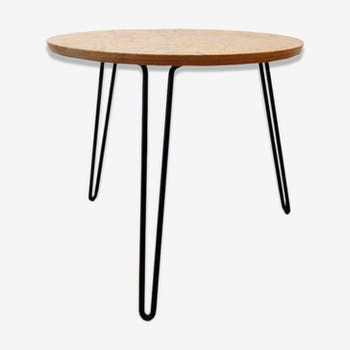 Table de salon, bois et pieds métal