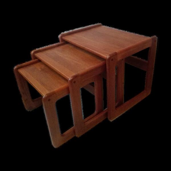 Tables gigognes 3 en teck massif années 60-70