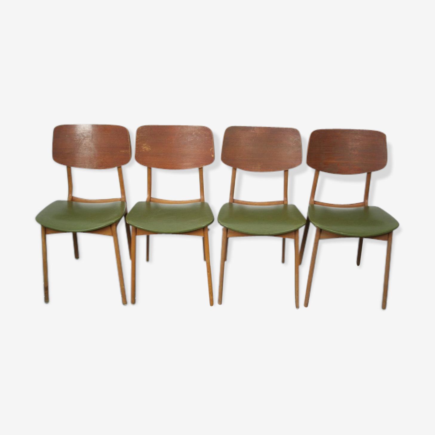 Lot 4 chaises stella hêtre teck 50 vintage