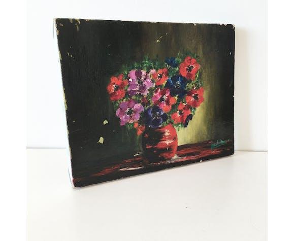 Huile sur toile ancienne bouquet de fleur