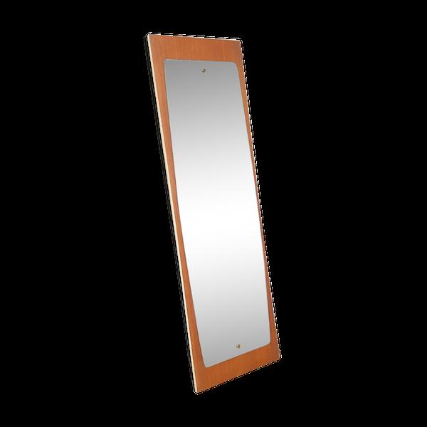 Miroir de plancher en teck, design danois, design rétro scandinave des années 70