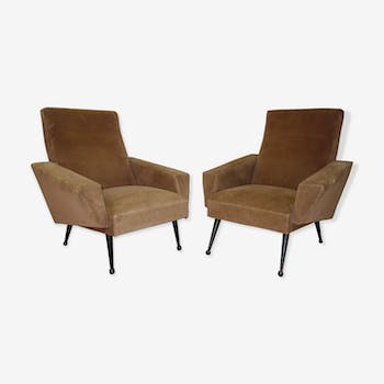 Pair of velvet armchairs from the 1950s