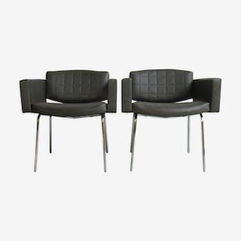 """Paire de fauteuils """"Conseil"""" de Pierre Guariche pour Meurop 1960s"""
