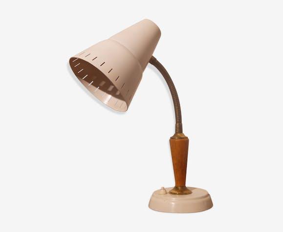 Lampe de bureau scandinave bois et laiton métal blanc