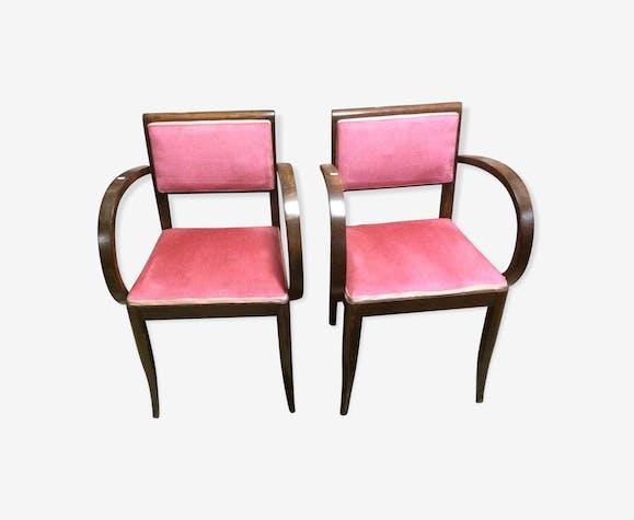 paire de fauteuil bridge annee 70 bois mat riau. Black Bedroom Furniture Sets. Home Design Ideas