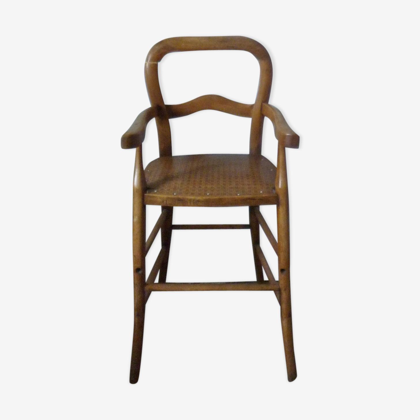 Chaise haute en bois avec assise imitation cannage