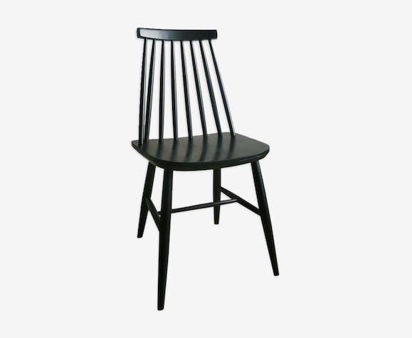 Chaise Barreaux Noire Esprit Scandinave Des Annes 60