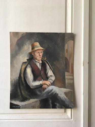 Portrait huile ancien signé
