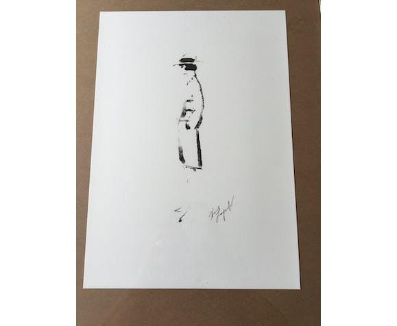 Illustration tirage croquis Chanel de mode encadrée