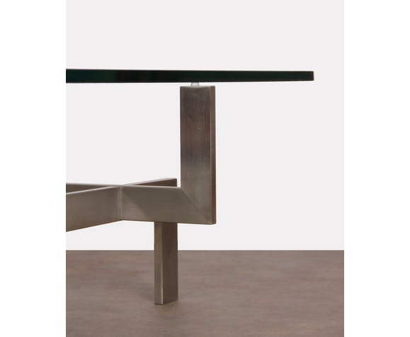 Table basse vintage en métal et verre par Paul Legeard, 1970