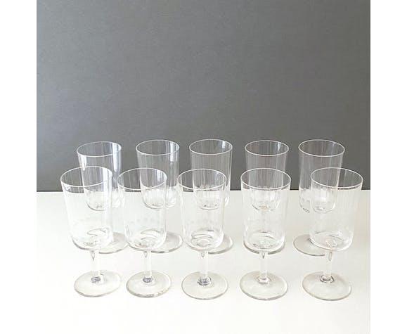 Set of 10 mid century champagne glasses