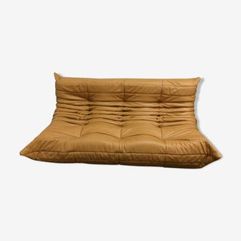 "Sofa 3 places ""Togo"" camel leather by Michel Ducaroy for Ligne Roset"