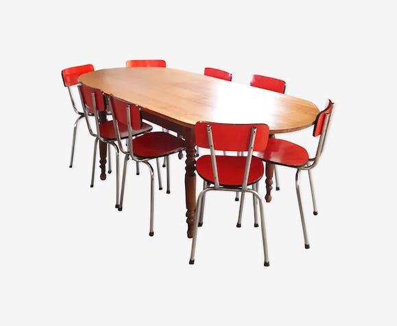Ensemble Salle A Manger Table De Ferme Ovale Et 8 Chaises Formica