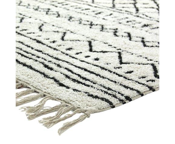 Tapis berbere 80 x 180 cm blanc motif noir
