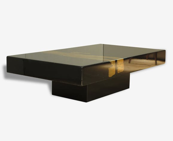Table Basse Style Willy Rizzo Vintage 70 Wood Black Design
