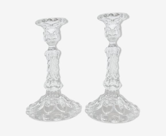 Duo de bougeoirs anciens en verre
