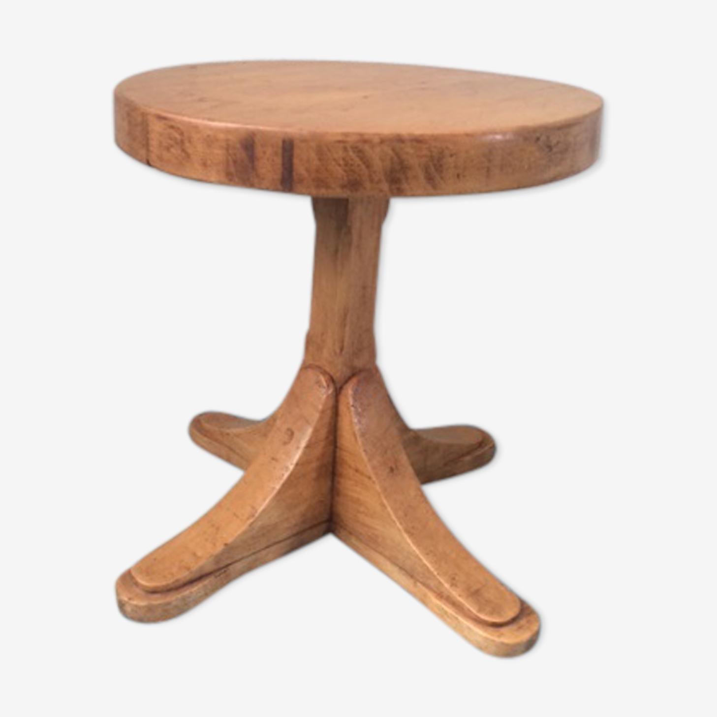 Guéridon design en bois vernis clair vintage des années 60