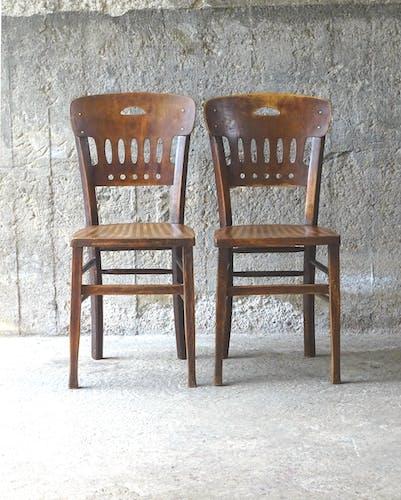 Lot de 5 chaises bistrot Luterma 1925 assise striées