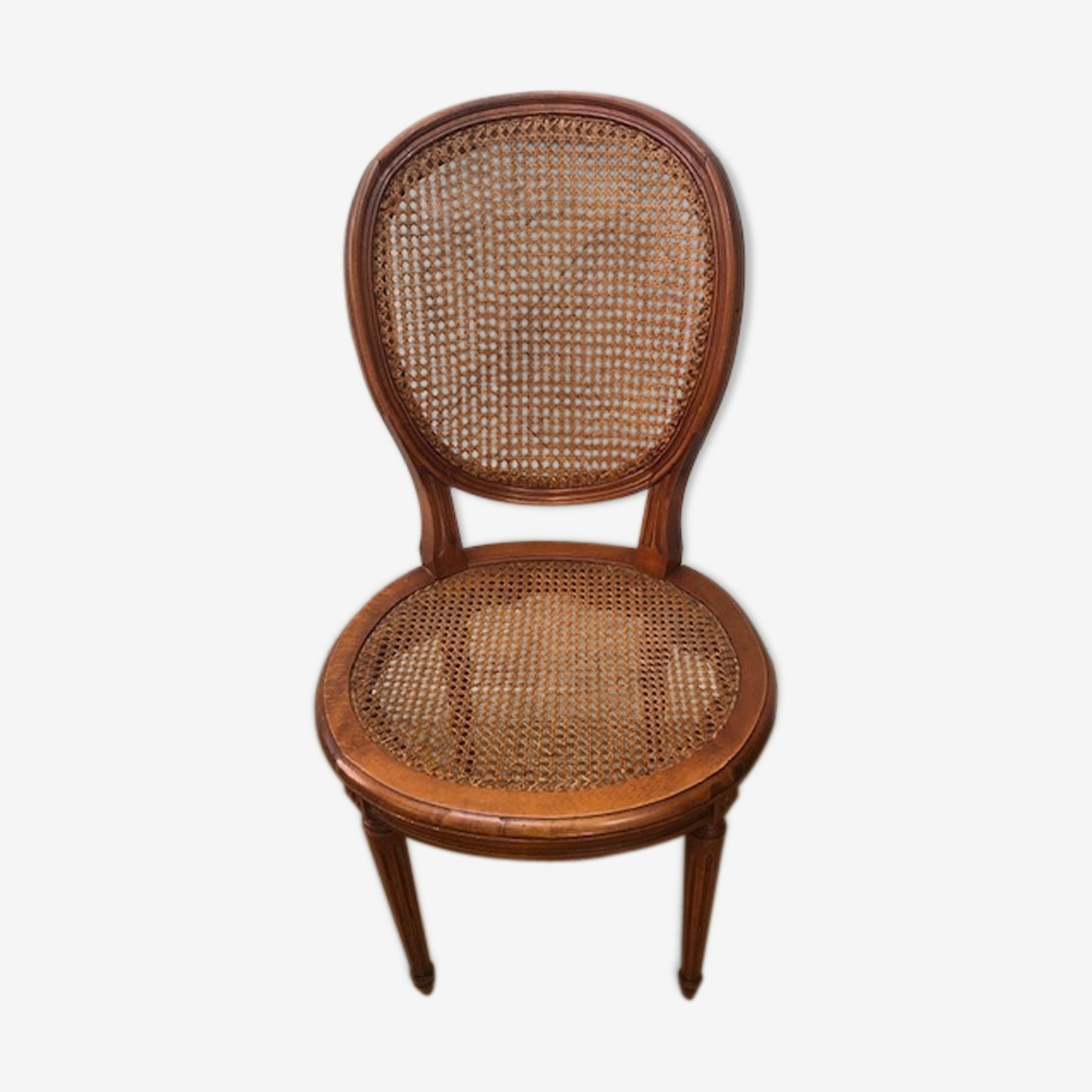 Empire canned and beech armchair