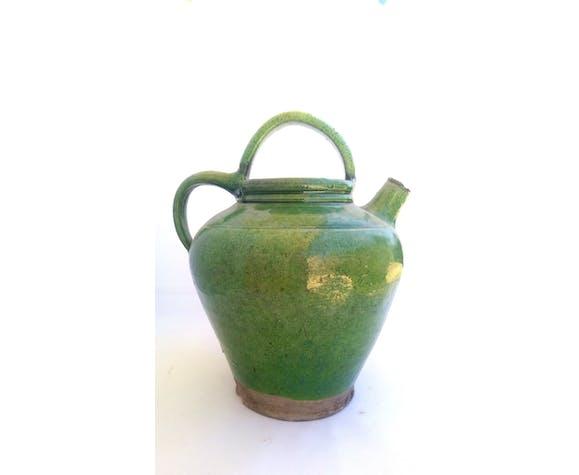 Cruche gargoulette céramique verte