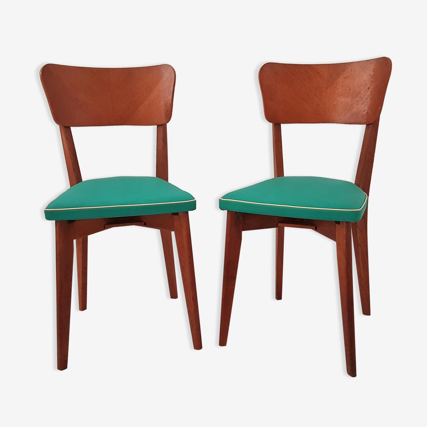 Paire de chaises vintage en bois et skaï