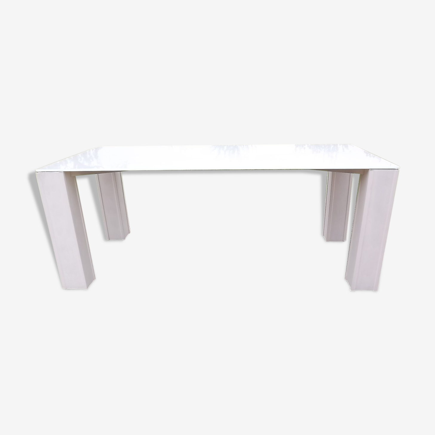 Table with white opal glass top vintage