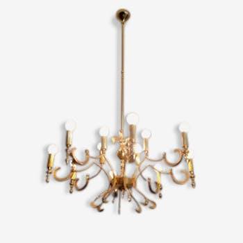 Extraordinary Mid Century Regency Style Brass Chandelier, Italian Manufacture | chandelier