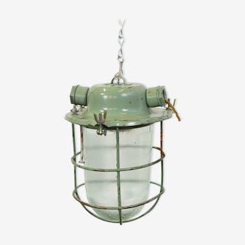 Mint Green Soviet Industrial Pendant Lights Circa 1960s