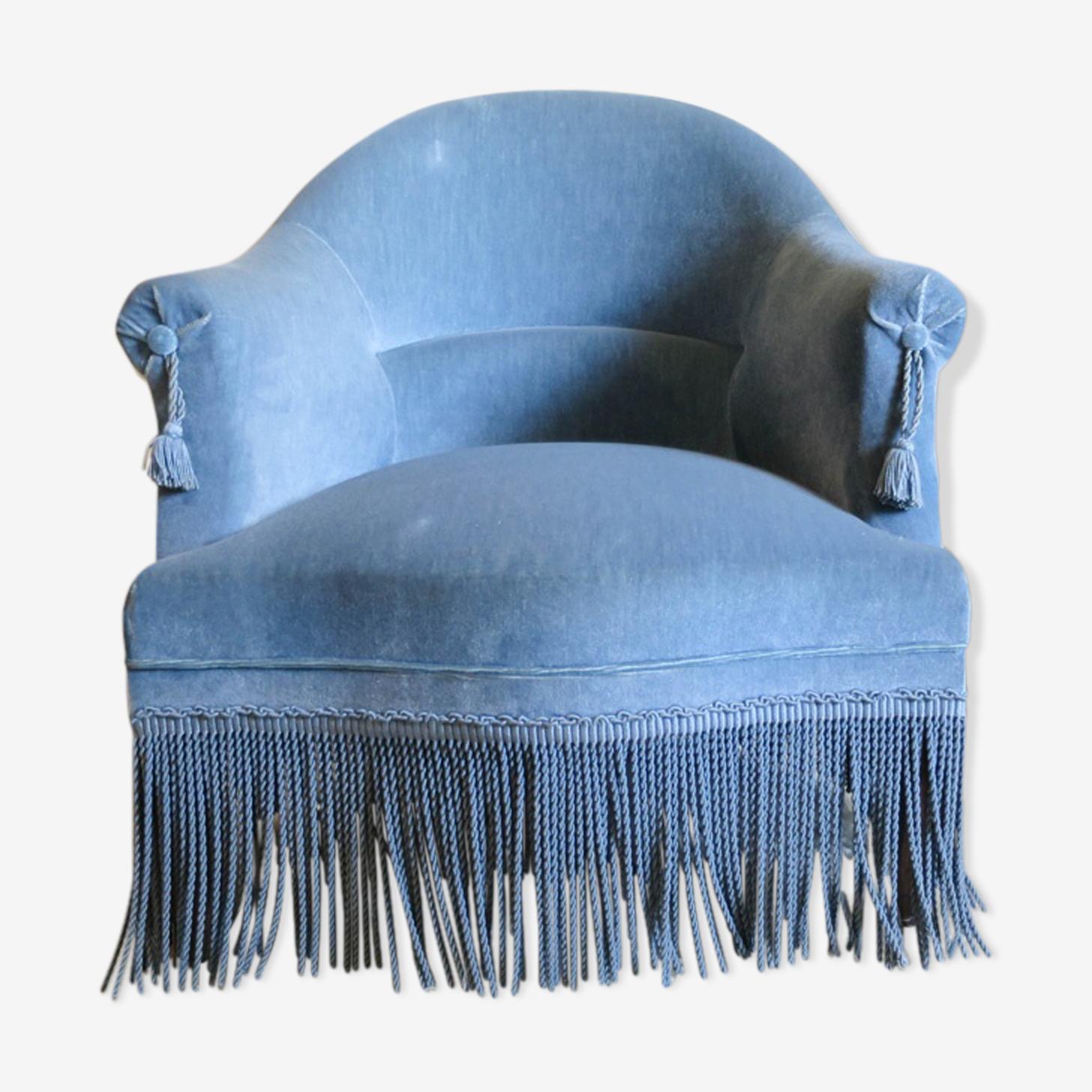 Fauteuil crapaud velours bleu