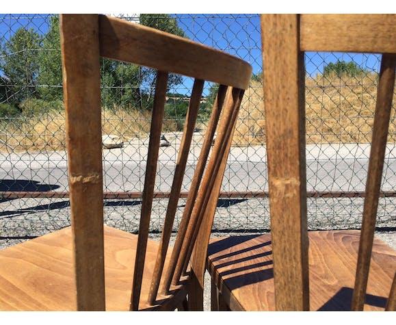 Paire de chaises bistrot Baumann esprit scandinave - dossier 5 barreaux ronds