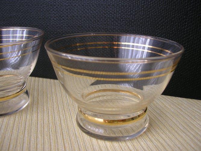 Set de 7 coupes en verre vintage