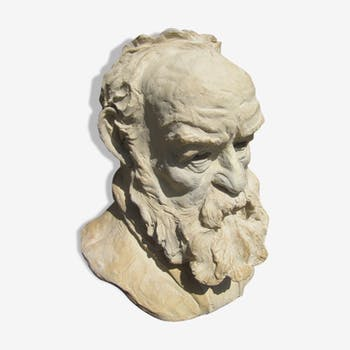 Terracotta sculpture bust of Victor Hugo in the land