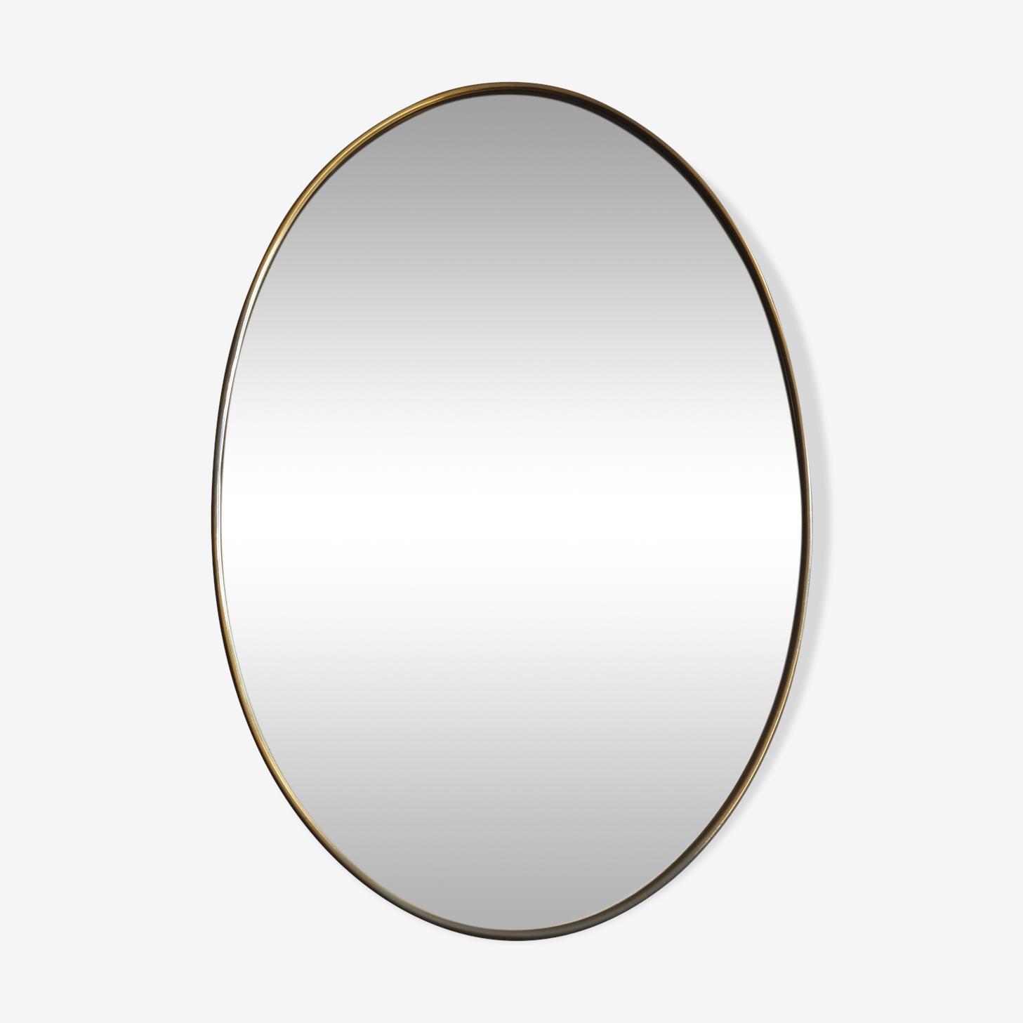 Miroir ovale laiton des années 1960 36x56cm