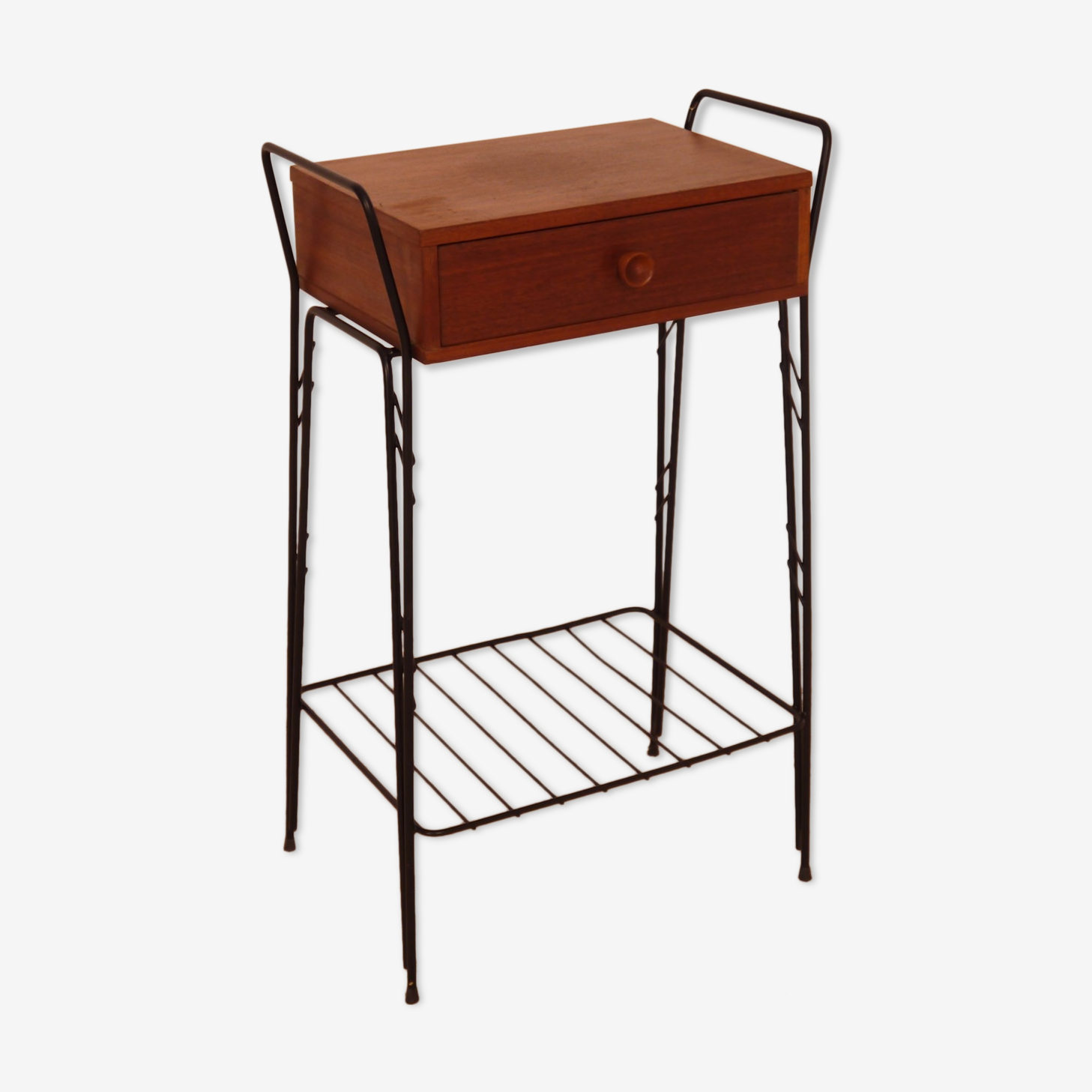 Table appoint vintage métal et bois