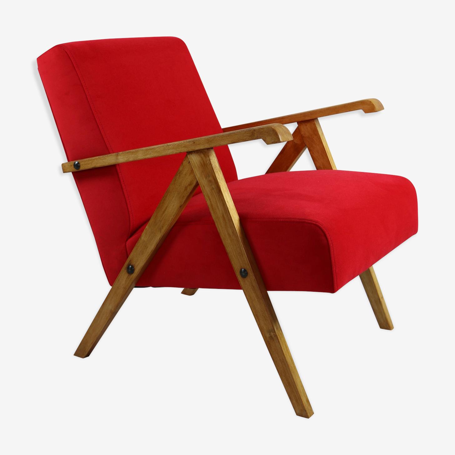 Vintage red velvet armchair, 1970