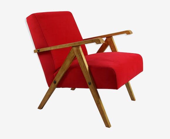 Fauteuil en velours rouge vintage, des années 1970
