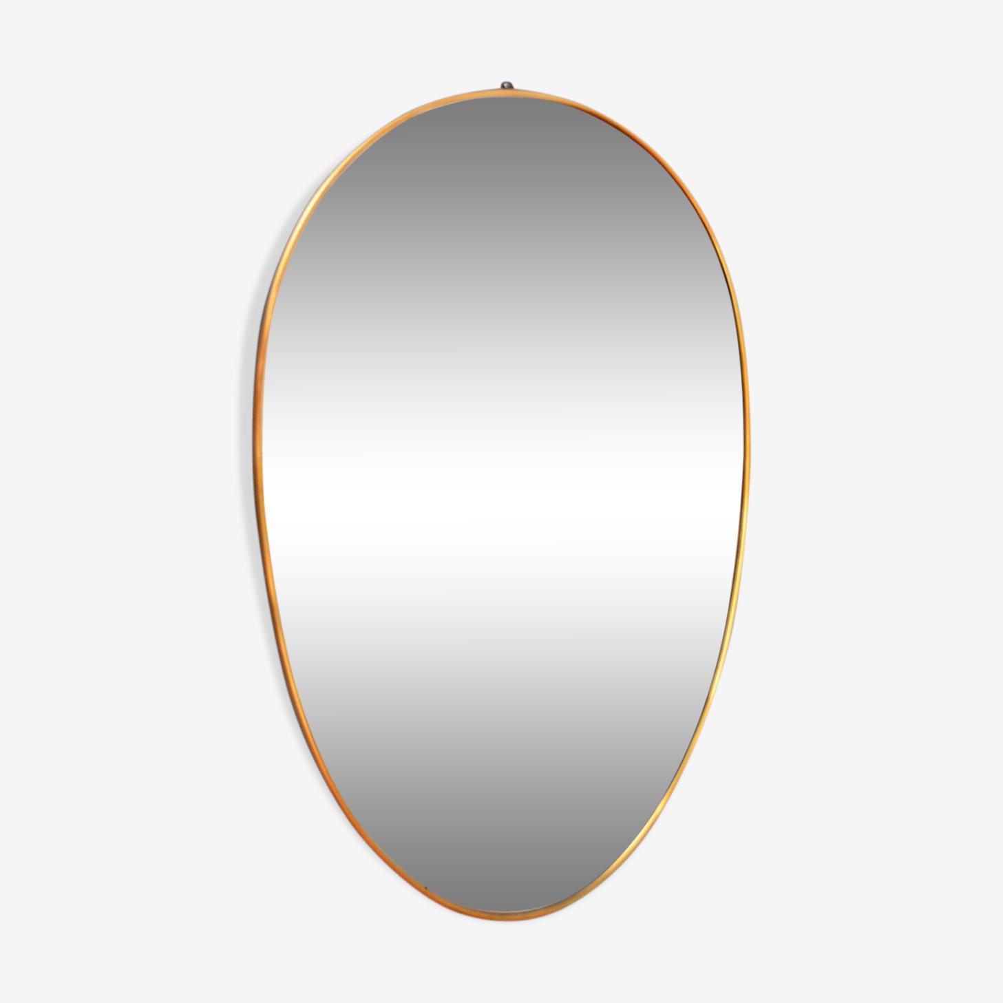 Miroir en laiton ovale années 1950  - 52x80cm