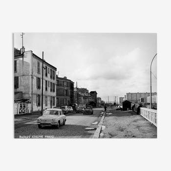 Photo print framed Paris in 1965 Bd Adolphe Pinard on the day (Paris 14th)