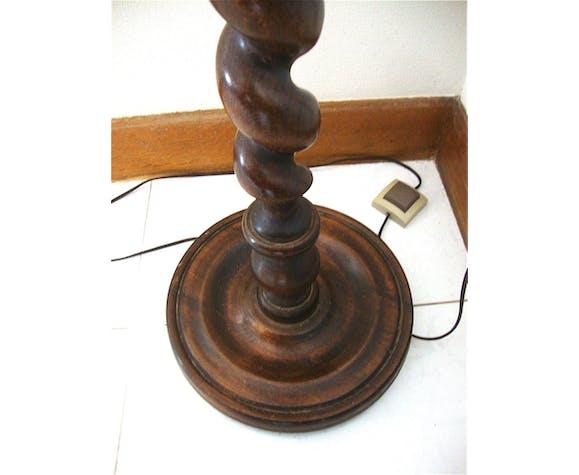 Lampadaire en bois tourné et verre soufflé