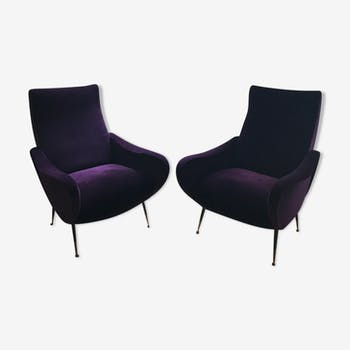 Pair of chairs in velvet plum