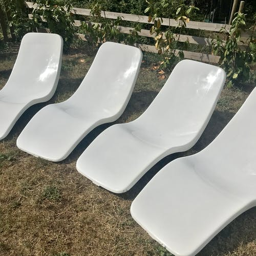 Set de 4 chaises longues Charles Zublena circa 1965