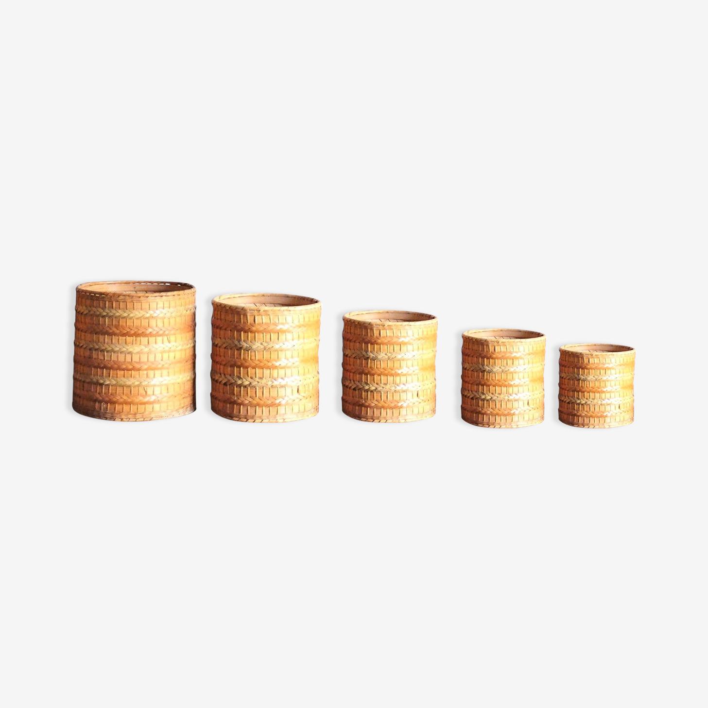 5 cache pots en osier, années 70