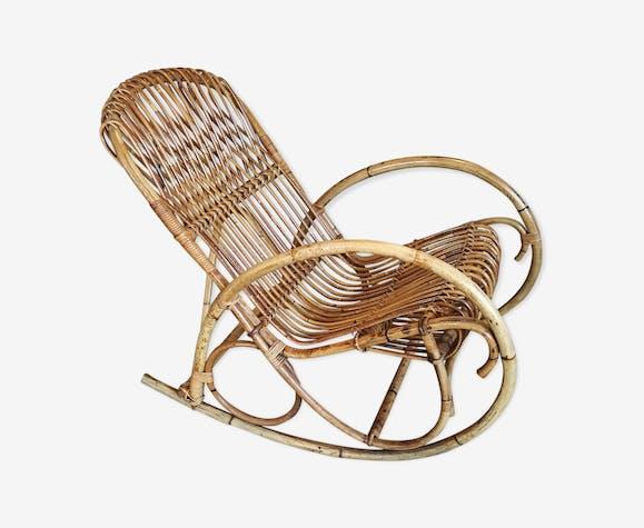 Rocking-chair en rotin