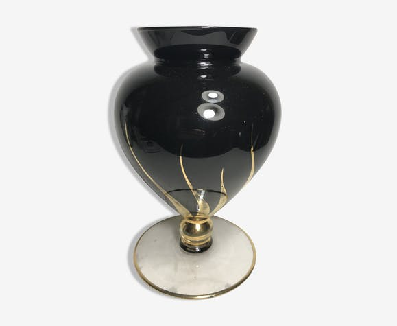 Old On Foot Black Glass Vase Drawings Gilding Glass And Crystal